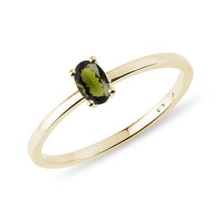 Minimalist moldavite ring in gold