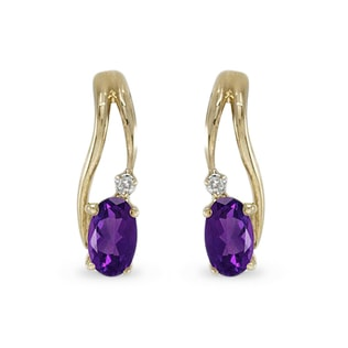 Amethyst and diamond earrings in 14kt solid gold