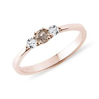 Champagne and white diamond ring in rose gold