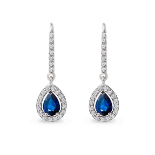 Gold earrings with sapphires and diamonds