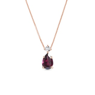 Rhodolite pendant of rose gold