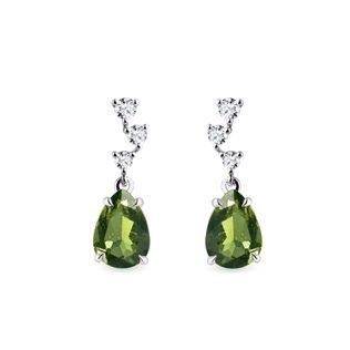 Moldavite and diamond earrings in white gold