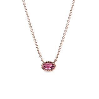 Oval tourmaline necklace in rose gold