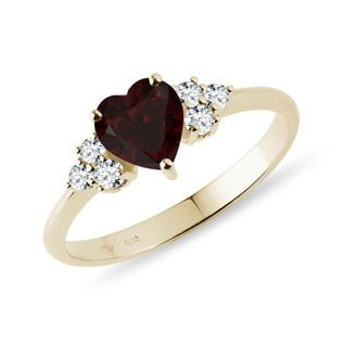 Heart shaped garnet and diamond ring in gold