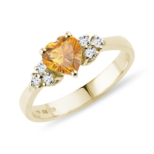 Citrine heart and diamond ring in yellow gold