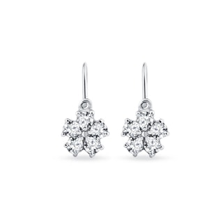 Baby earrings with CZ stones flower