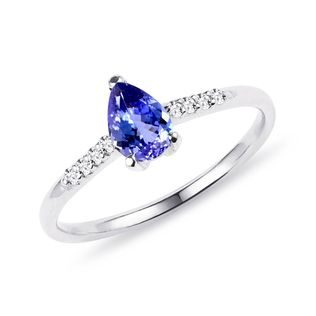 Bague en or jaune avec tanzanite et diamants