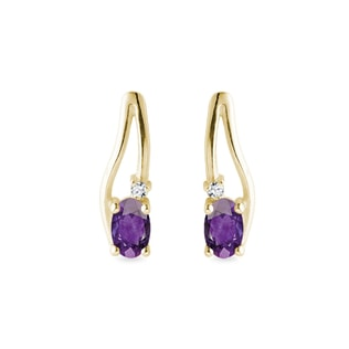 Amethyst Ohrringe mit Diamanten in Gelbgold