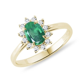 Emerald and brilliant ring in 14kt yellow gold