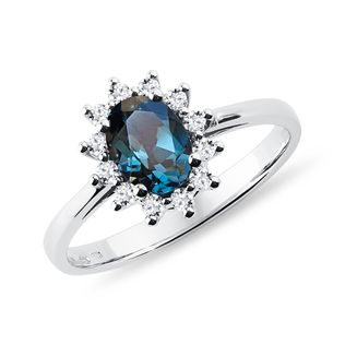 Dark topaz and diamond ring in white gold