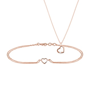 Diamond heart bracelet and pendant set in rose gold