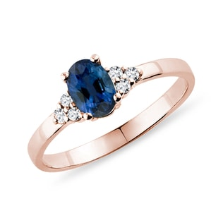 Saphir Ring mit Diamanten in Roségold