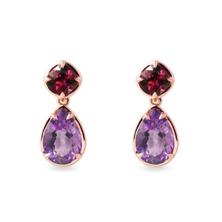 Amethyst and rhodolites earrings in yellow gold