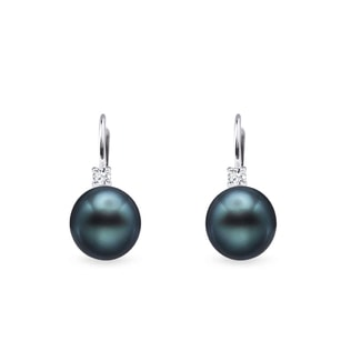 Tahitian pearl and diamond earrings in white gold