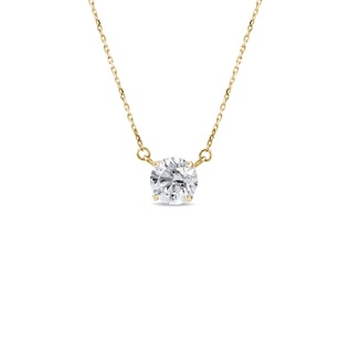 Necklace in yellow gold with a diamond