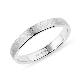 Men's sandblasted ring in white gold
