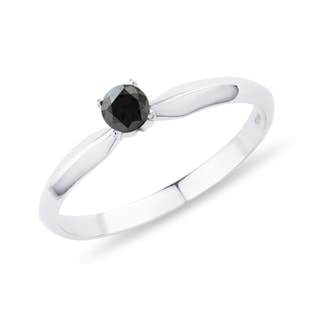 Black diamond engagement ring in white gold