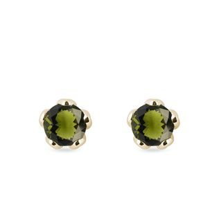 Moldavite stud earrings in yellow gold