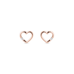 Diamond heart earrings in rose gold