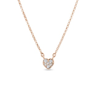 Heart-shaped diamond pendant in rose gold