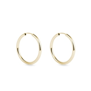 Gold hoop earrings, 2 cm in diameter