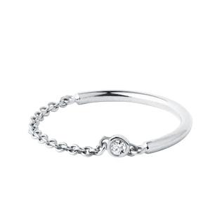 Diamond bezel chain ring in white gold