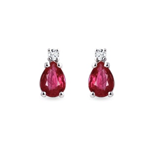Gold earrings with diamonds and rubies