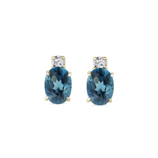 Gold earrings with diamonds and topaz
