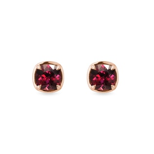 Rhodolite earrings in rose gold
