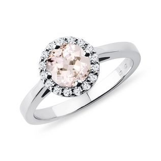 Bague Marguerite en or blanc avec diamants et morganite