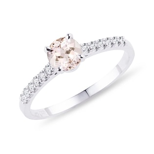Bague de fiançailles en or, diamants et morganite