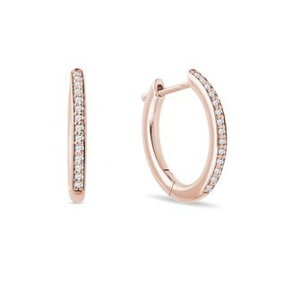 Diamond hoop earrings in pink gold