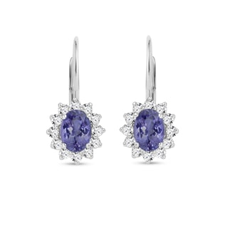 Earrings with diamonds and tanzanites