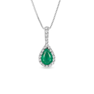 Emerald and diamond pendant in 18kt gold