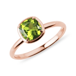 Olivin Ring in Roségold