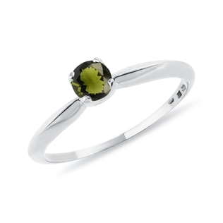 Moldavite ring in white gold