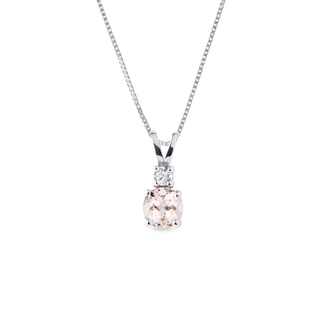 Morganite necklace in white gold