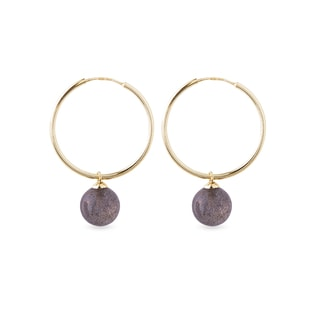 Gold hoop earrings with round labradorite pendants