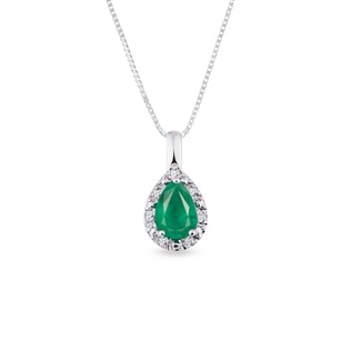 Emerald pendant in 14kt white gold