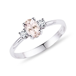 White gold ring with diamonds and morganite