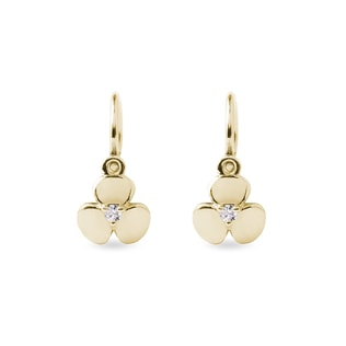 Children's diamond shamrock pendant earrings in yellow gold