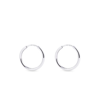White gold hoop earrings 16 mm