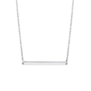 Minimalist bar necklace in white gold