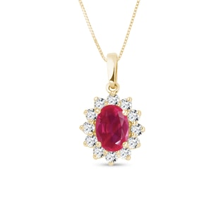 Ruby pendant with diamonds