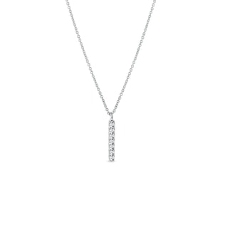 Diamond vertical bar pendant in white gold