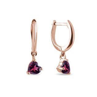 Heart-shaped rhodolite earrings in rose gold