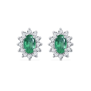 White gold earrings with diamonds and emeralds
