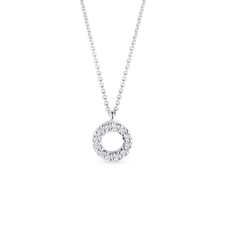Circular diamond pendant in white gold