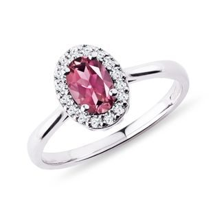 Tourmaline and diamond ring in white gold
