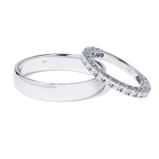 White gold wedding rings with diamonds